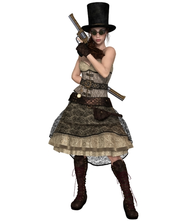 eyewear fashion: Fantasy illustration of a Steampunk Woman with stovepipe hat, standing with two revolvers, 3d digitally rendered illustration Stock Photo