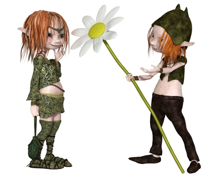goblins: Fantasy illustration of a Goblin or small Troll giving his lady a flower for Valentines Day, 3d digitally rendered illustration Stock Photo