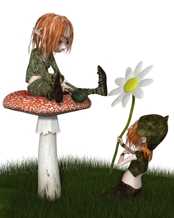 troll: Fantasy illustration of a Goblin or small Troll kneeling in the grass to give his lady a flower gift for Valentines Day, 3d digitally rendered illustration