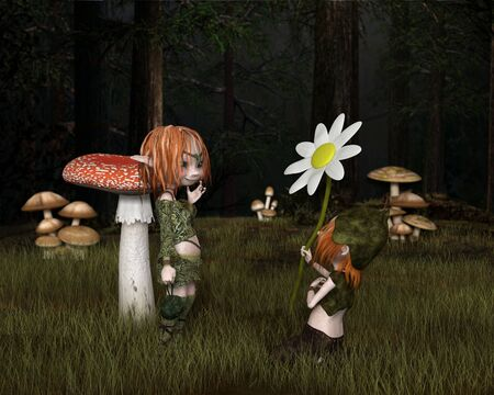 troll: Fantasy illustration of a Goblin or small Troll kneeling in the grass in a forest glade to give his lady a flower gift for Valentines Day, 3d digitally rendered illustration with depth of field