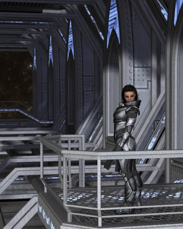 armoured: Science fiction illustration of a brunette female future soldier in protective armoured space suit, standing guard inside a space station Stock Photo