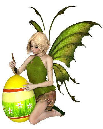 faery: Fantasy illustration of a pretty blonde fairy dressed in green, painting an easter egg with daisies Stock Photo