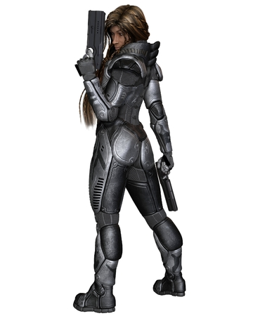 back to the future: Science fiction illustration of a black female future soldier in protective armoured space suit, standing holding pistols, back view, 3d digitally rendered illustration