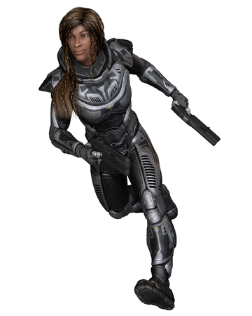 space suit: Science fiction illustration of a black female future soldier in protective armoured space suit, running forward, back view, 3d digitally rendered illustration