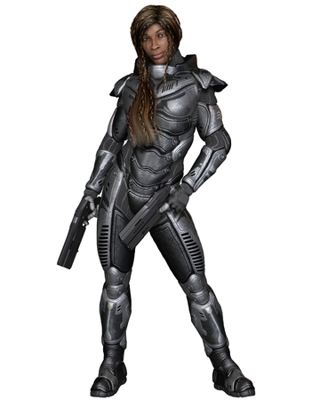 space suit: Science fiction illustration of a black female future soldier in protective armoured space suit, standing holding pistols, 3d digitally rendered illustration