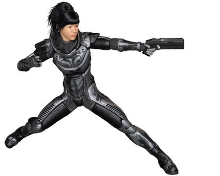 space suit: Science fiction illustration of an Asian female future soldier in protective armoured space suit, fighting with two pistols, 3d digitally rendered illustration Stock Photo