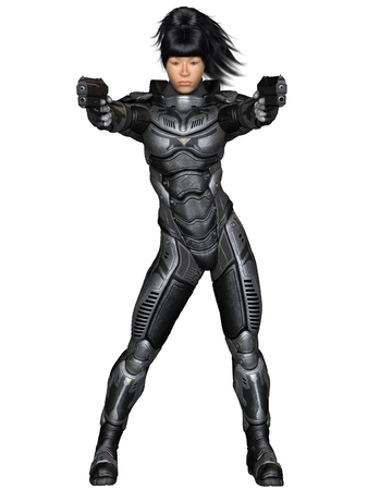Science fiction illustration of an Asian female future soldier in protective armoured space suit, standing holding pistols, 3d digitally rendered illustration