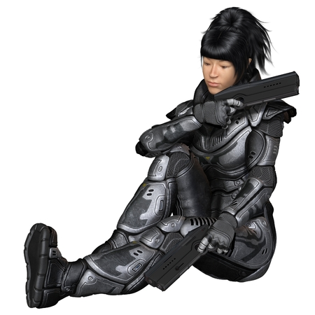 space suit: Science fiction illustration of an Asian female future soldier in protective armoured space suit, sitting and holding two pistols, 3d digitally rendered illustration Stock Photo