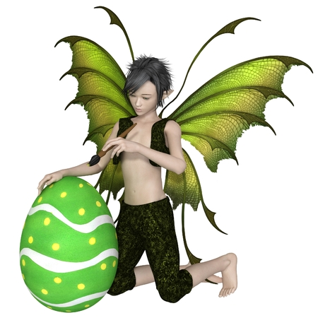 fey: Fantasy illustration of a fairy boy dressed in green, painting an easter egg, 3d digitally rendered illustration Stock Photo