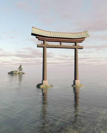 torii: Fantasy illustration of a floating Japanese Torii Gate in soft daylight, marking the entrance to a Shinto Shrine or sacred space, 3d digitally rendered illustration