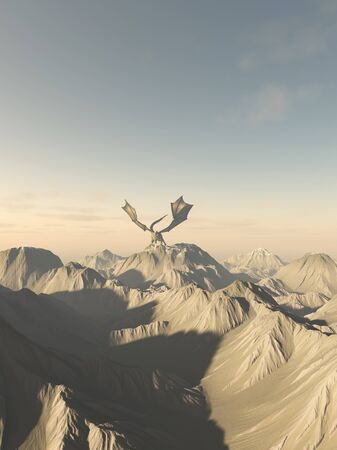 legendary: Fantasy illustration of a giant green dragon perched on top of a mountain range, 3d digitally rendered illustration