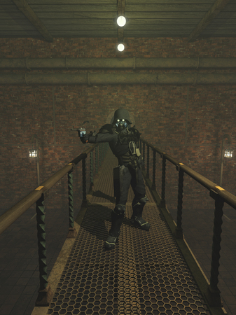 Science fiction illustration of a Steam Punk trooper with pistol standing on a bridge in an abandoned factory, 3d digitally rendered illustration