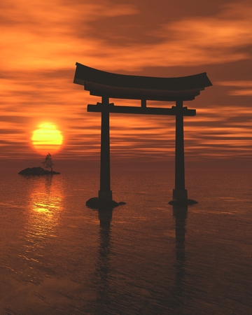 shinto: Fantasy illustration of a floating Japanese Torii Gate in dramatic golden sunset light, marking the entrance to a Shinto Shrine or sacred space, 3d digitally rendered illustration