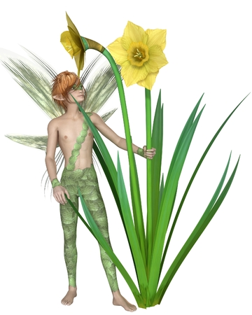 fey: Fantasy illustration of a fairy boy standing with yellow spring daffodils, 3d digitally rendered illustration