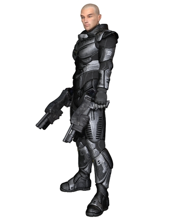 Science fiction illustration of a male future soldier in protective armoured space suit, standing holding pistols, 3d digitally rendered illustration Stock Photo