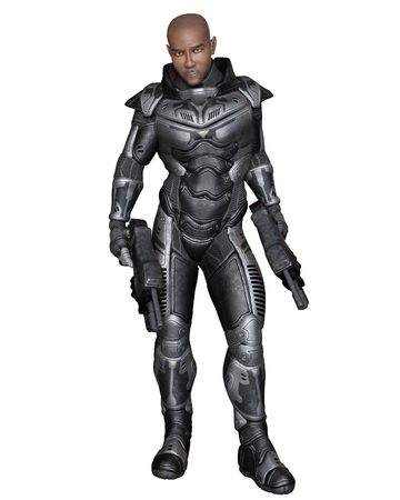 shaved head: Science fiction illustration of a black male future soldier in protective armoured space suit, standing holding pistols, 3d digitally rendered illustration Stock Photo