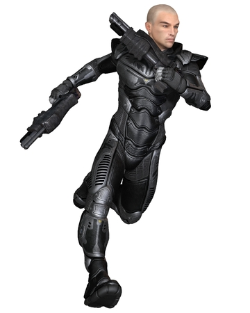 man gun: Science fiction illustration of a male future soldier in protective armoured space suit, running holding pistols, 3d digitally rendered illustration Stock Photo