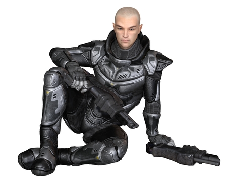 Science fiction illustration of a male future soldier in protective armoured space suit, sitting holding pistols, 3d digitally rendered illustration Stock Photo