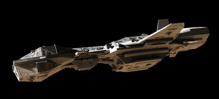 interplanetary: Science fiction illustration of an interplanetary spaceship, isolated on black, side view with low lighting, 3d digitally rendered illustration Stock Photo