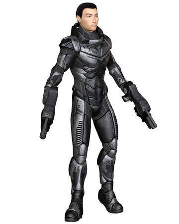futuristic: Science fiction illustration of an Asian male future soldier in protective armoured space suit, standing holding pistols, 3d digitally rendered illustration