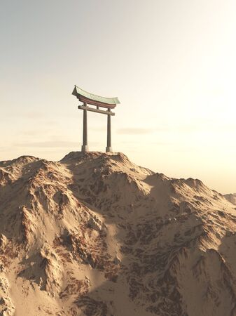 shrine: Fantasy illustration of a Japanese Torii Gate on top of a lonely mountain, marking the entrance to a Shinto Shrine or sacred space, 3d digitally rendered illustration Stock Photo