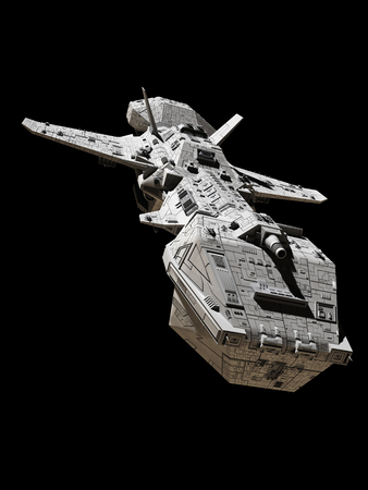 isolated: Science fiction illustration of an interplanetary spaceship, isolated on black, front view from above, 3d digitally rendered illustration