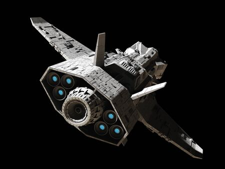 interplanetary: Science fiction illustration of an interplanetary spaceship, isolated on black, rear angled view with blue engine glow, 3d digitally rendered illustration