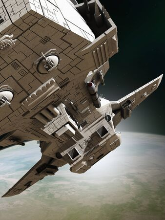starship: Science fiction illustration of an interplanetary spaceship leaving orbit around an alien planet, close up view, 3d digitally rendered illustration