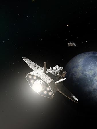 Science fiction illustratie van twee ruimteschepen op het punt om te vellen over de aanpak van een buitenaardse planeet, 3d digitaal teruggegeven illustratie