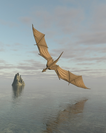 flying dragon: Fantasy illustration of a dragon flying low over a calm ocean in daylight, 3d digitally rendered illustration Stock Photo