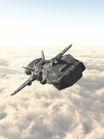 starship: Science fiction illustration of an interplanetary spaceship in the high atmosphere above the clouds of an alien planet, 3d digitally rendered illustration