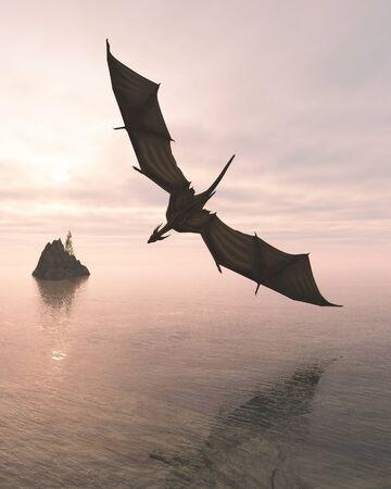 flucht: Fantasie Illustration eines Drachen tief über einem ruhigen Ozean in rosa Abendlicht fliegen, 3d digital gerenderten Bild