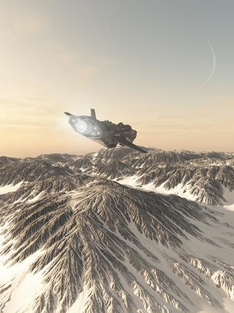ilustración ilustración de ciencia ficción de una nave espacial interplanetaria en la atmósfera que vuela bajo sobre las montañas cubiertas de nieve de invierno de un planeta extraño, 3d digitalmente