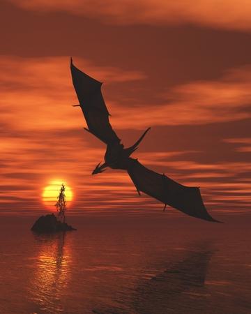 Fantasy illustration of a dragon flying low over a calm ocean at sunset, 3d digitally rendered illustration