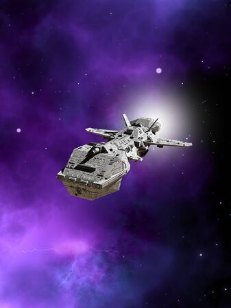 starship: Science fiction illustration of an interplanetary spaceship flying away from a purple nebula in deep space, 3d digitally rendered illustration