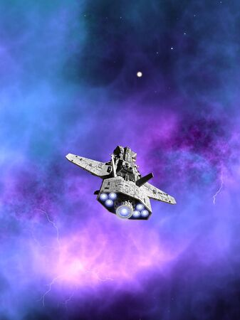 interplanetary: Science fiction illustration of an interplanetary spaceship flying towards a purple nebula in deep space, 3d digitally rendered illustration