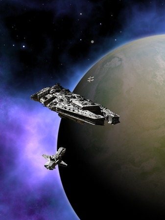 starship: Science fiction illustration of a small fleet of three spaceships in orbit around a green planet with a purple nebula in deep space, 3d digitally rendered illustration Stock Photo