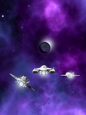 dark nebula: Science fiction illustration of a small fleet of three spaceships flying towards a dark planet and purple nebula in deep space, 3d digitally rendered illustration