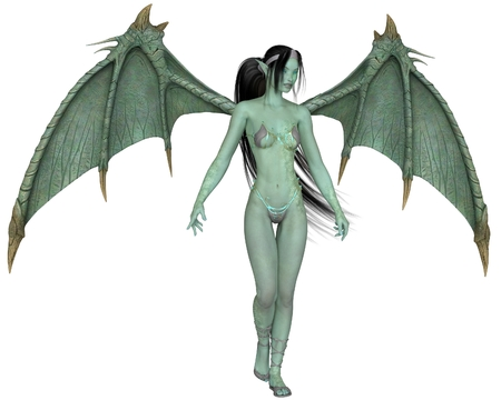 Fantasy illustration of a dragon woman with green scales and wings, 3d digitally rendered illustration