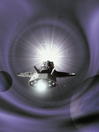 light speed: Science fiction illustration of an interplanetary spaceship approaching light speed entering a purple wormhole in space, 3d digitally rendered illustration Stock Photo