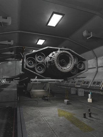 space station: Science fiction illustration of an interplanetary spaceship unloading in space station dock, 3d digitally rendered illustration