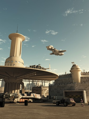 spaceport: Science fiction illustration of an interstellar spaceship coming in to land at the spaceport in a futuristic science fiction city on a bright sunny day, 3d digitally rendered illustration