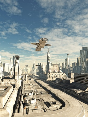approach: Science fiction illustration of an interstellar space ship on its final approach to landing in a futuristic sci-fi city, 3d digitally rendered illustration
