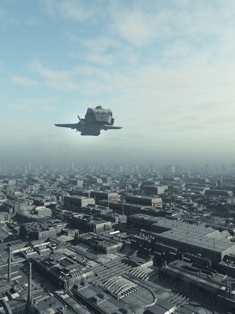 future city: Science fiction illustration of an interstellar spaceship flying over a future city, 3d digitally rendered illustration