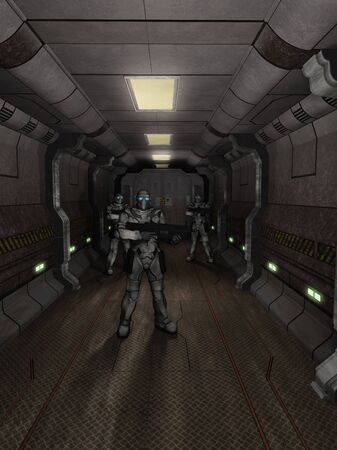guarding: Science fiction illustration of a group of three futuristic space marines in heavy armour guarding the dark corridor of a space station or spaceship, 3d digitally rendered illustration