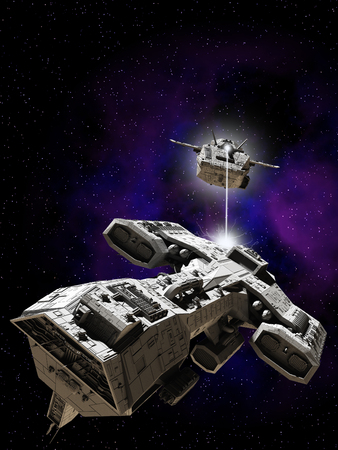 starship: Science fiction illustration of two spaceships battling in outer space, 3d digitally rendered illustration Stock Photo