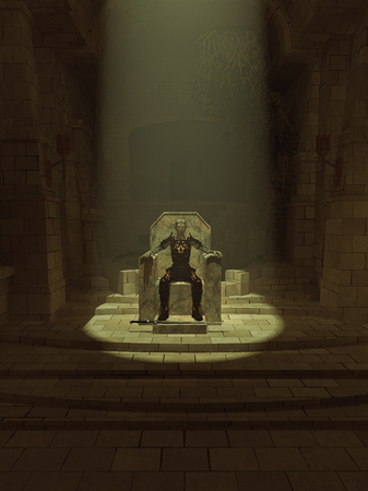 throne: Fantasy illustration of an undead lich or zombie king sitting on his throne in a dark hall, 3d digitally rendered illustration