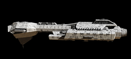 デジタル 3 d 側から見た黒の背景に分離された宇宙船の空想科学小説イラスト描画図