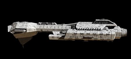 Science fiction illustratie van een ruimteschip geïsoleerd op een zwarte achtergrond, gezien vanaf de zijkant, 3d digitaal teruggegeven illustratie Stockfoto