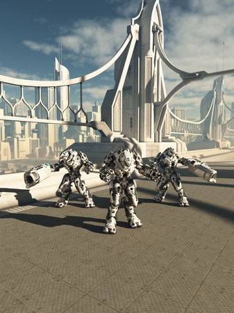 road warrior: Science fiction illustration of three robot sentinels standing guard on a future city bridge, 3d digitally rendered illustration